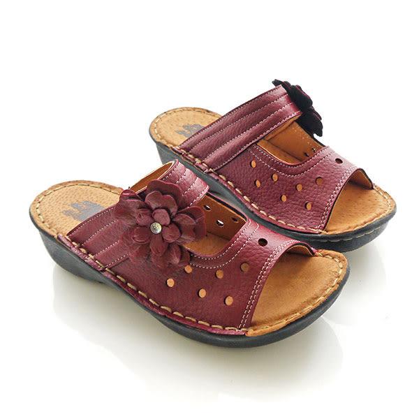 拖鞋 質感厚底花邊水鑽拖鞋 P-0631