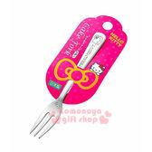 〔小禮堂〕Hello Kitty 日製不鏽鋼叉子《小.銀.大臉》可愛又實用 4991203-16753