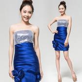 (45 Design)   新娘結婚敬酒服短款 伴娘禮服前短後長雙肩V領晚禮服 緞面  寶藍瓶口