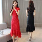 超仙顯瘦收腰連衣裙女 中大尺碼短袖洋裝 溫柔風蕾絲洋裝裙 修身包臀魚尾裙