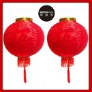 摩達客▶農曆春節元宵◉16吋植絨魚福紅燈籠(一組兩入)