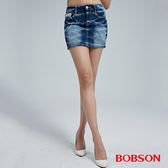 BOBSON 女款蕾絲花邊牛仔短裙(D091-58)