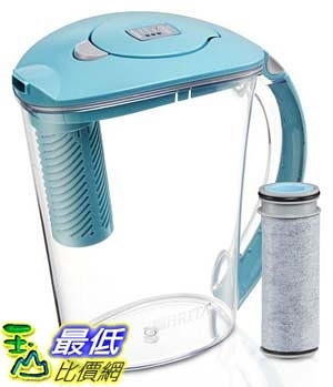 [106美國直購] Brita 10 Cup Stream Filter as You Pour Water Pitcher with 1 Filter, Rapids, BPA Free, Lake Blue