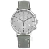 TIMEX 天美時 / TXTW2T67500 / Fairfield Chrono系列 三眼計時 礦石強化玻璃 日期 真皮手錶 灰色 41mm