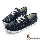 Hush Puppies 十字繡咖啡紗帆布鞋-深藍
