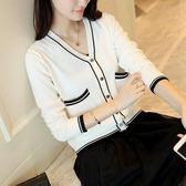 裝女裝拼色針織衫女開衫寬鬆薄款短款披肩外套潮