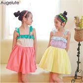 露背洋裝 撞色蓬裙 女童 連身裙 洋裙 吊帶裙 連衣裙 Augelute 42154