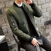夾克外套-棒球領韓版時尚貼標休閒夾棉男外套3色73qa31【時尚巴黎】