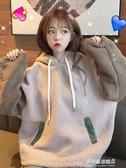 連帽衛衣外套女-秋冬季新款拼接仿羊羔毛衛衣女學生韓版寬鬆上衣加絨加厚連帽外套 多麗絲