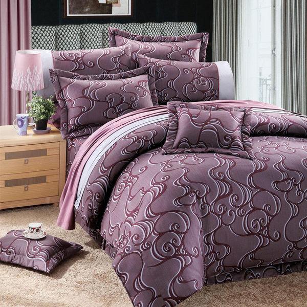 床罩 雲霞紫霧 P-2026 咖啡 雙人 六件式 床罩組 5x6.2尺 VH.POLO