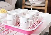 茶花塑料瀝水茶盤水杯水果雙層托盤方形兒童寶寶餐盤YYP  琉璃美衣