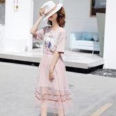 網紗連衣裙女夏季學生裙兩件套短袖時尚中長款裙子 魔法街
