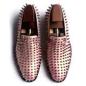真皮皮鞋-鉚釘套腳歐美時尚個性龐克風男休閒鞋73kv32【巴黎精品】