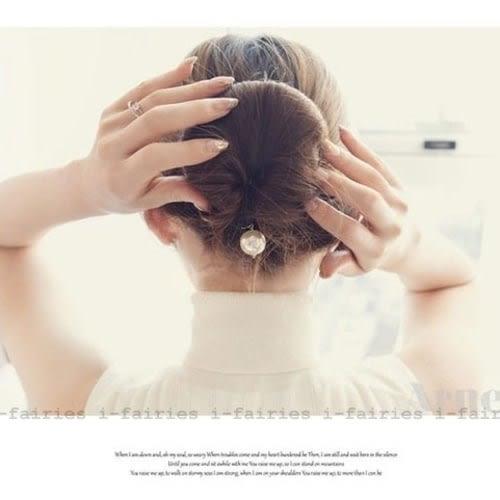 現貨+快速★日韓珍珠雙鈎丸子頭海綿盤髮器髮帶髮飾★ifairies【25647】