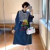 長袖洋裝 長袖連身裙女裝秋季韓版高腰顯瘦時尚減齡中長款桔梗裙子【樂淘淘】