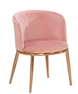 【森可家居】羅蘭餐椅(粉色布)(五金腳) 8CM1034-12 洽談椅 商業椅 休閒椅