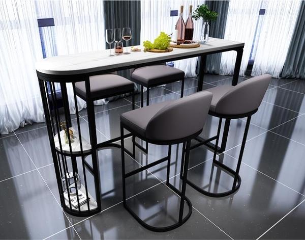 吧台桌 北歐巖板吧台桌家用餐桌簡約客廳廚房桌椅輕奢家庭隔斷靠墻高腳桌【八折搶購】