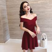 一字領洋裝 赫本小黑裙性感一字領短袖露肩兩穿顯瘦A字裙針織洋裝2019秋裝『鹿角巷』