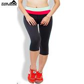 夏季速乾七分褲-女運動健身排汗速乾雙腰頭壓縮(C26 灰玫翡)【德國-戶外趣】