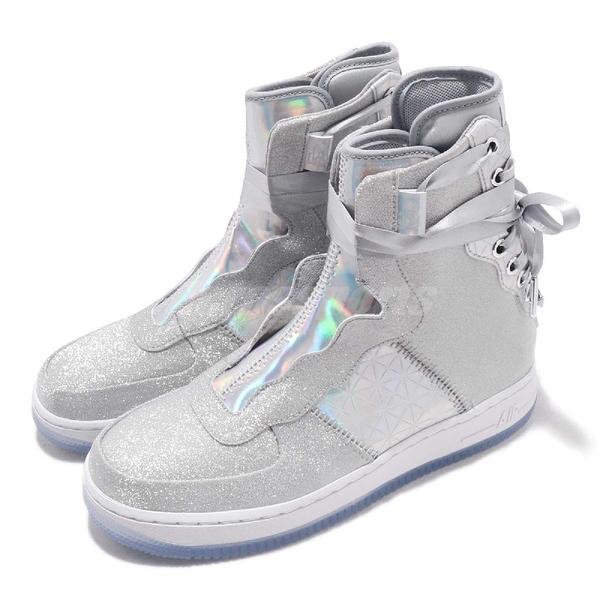 Nike 休閒鞋 Wmns AF1 Rebel XX CNY 銀 白 七彩炫光 休閒鞋 Air Force 1 運動鞋 女鞋【ACS】 BV7344-090
