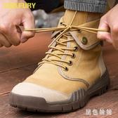 夏季高幫透氣馬丁靴牛津防滑底登山鞋男復古帆布鞋徒步鞋翻折兩用短靴 aj13594『黑色妹妹』