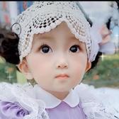 新品嬰兒發帶頭飾女寶寶囟門帽假發發帶1-2歲女童蕾絲皇冠公主發帶