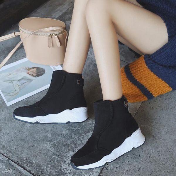 中筒靴35-40靴子棉鞋子女冬季新品雪靴女短筒平底加絨刷毛磨砂皮馬丁靴