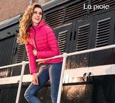 女式超輕羽絨服-霧面低調質感顯瘦腰身短版羽絨保暖外套(紅莓)