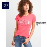 Gap女裝 Logo系列純棉金屬感圓領短袖T恤 215888-漿紅玫瑰果色