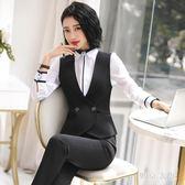 大尺碼黑色西裝馬甲女夏職業裝女工裝短款酒店工作服女外搭 QG27409『東京衣社』
