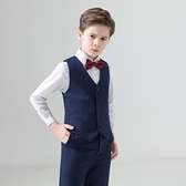兒童禮服 西裝套裝三件套花童禮服鋼琴演出服馬甲男孩小主持人男童西服【快速出貨八折搶購】