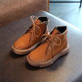 靴子 軟皮面高筒童鞋2018秋新款兒童短靴中性馬丁靴英倫風復古單靴【中秋節】