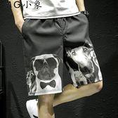休閒短褲 夏季韓版小狗印花休閒短褲