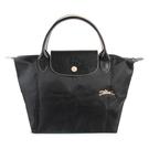 Longchamp 1621 LE PLIAGE 奔馬刺繡短提把小型尼龍摺疊水餃包(黑色)480206