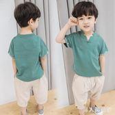 男童套裝 夏裝棉麻新款兒童韓版帥氣短袖兩件式夏季寶寶洋氣潮 DR17333【男人與流行】