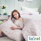 lasol小花床包設計款-花語系列『戀人心語-粉色』兩用被床包四件組標準雙人(睡眠屋)