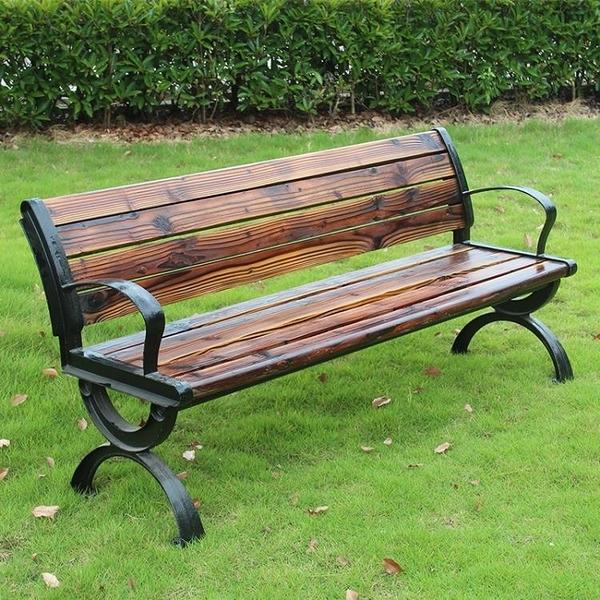 戶外鐵藝公園長椅子防腐木長條凳子休閒靠背露天庭院三人室外座椅 安雅家居館