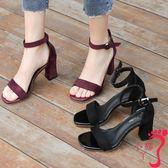 中跟涼鞋 涼鞋女夏中跟粗跟黑色學生百搭露趾一字扣帶羅馬高跟鞋女
