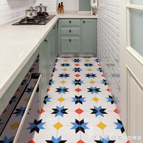 廚房地板貼紙自粘耐磨防水地貼衛生間瓷磚防油防滑地面翻新地磚貼 NMS美眉新品