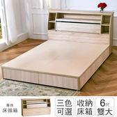 IHouse-秋田 日式收納床頭箱-雙大6尺胡桃