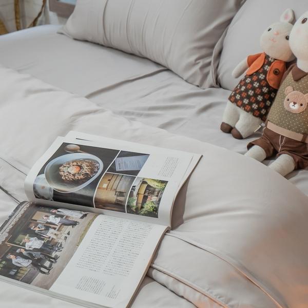 天絲(80支)床組 簡約生活系-杏仁茶 Q4雙人加大薄床包與兩用被四件組 100%天絲 台灣製 棉床本舖