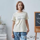 【Tiara Tiara】手繪風小房英字短袖上衣T恤(米) 新品穿搭