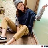 《FA2137-》假兩件拼接條紋寬鬆長袖針織毛衣 OB嚴選