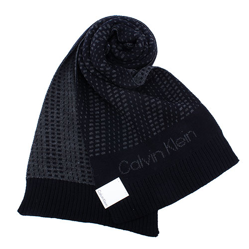 Calvin Klein新款雙色編織LOGO圍巾(黑灰色)103212