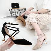 中跟涼鞋女百搭夏季新款百搭貓跟女士鞋正韓包頭交叉綁帶尖頭女鞋