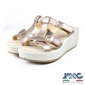 【IMAC】義大利真皮時尚厚底涼拖鞋  香檳金(72700-BE)