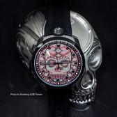 BOMBERG 炸彈錶 BOLT-68 Skull Pearl 珍珠骷顱手錶-紅x黑 BS45H3PBA.SKP-2.3