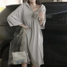 七分袖洋裝 300斤連身裙女夏季正韓寬鬆顯瘦七分袖連帽中長款裙-Ballet朵朵