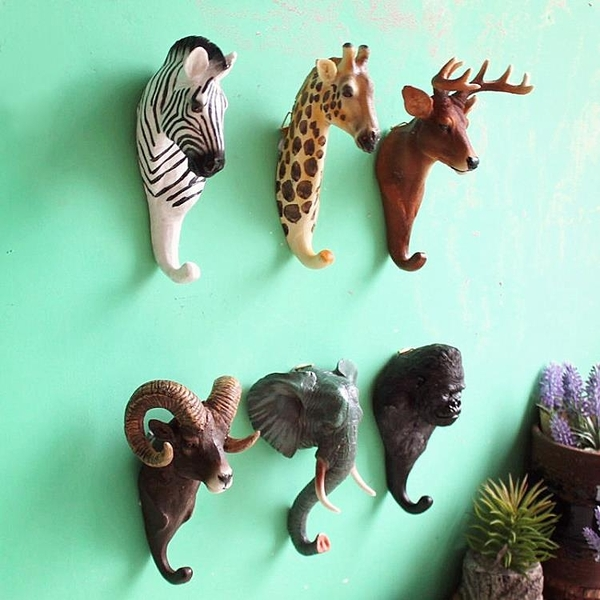 裝飾掛鉤-美式鄉村咖啡館酒吧店鋪墻面立體動物壁掛衣帽鉤創意鹿頭裝飾掛鉤 喵喵物語