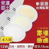 TOYAMA特亞馬 12W超薄LED雷達微波感應崁燈 挖孔尺寸15cm 4入組 白光、黃光、自然光任選【免運直出】